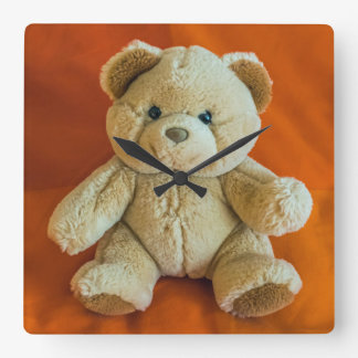 Teddy bear square wall clock
