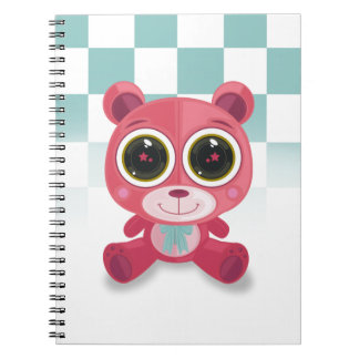 Teddy Bear - Star Eye Pink Spiral Note Book