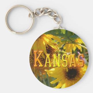 Teddy Bear Sunflowers: Kansas Basic Round Button Key Ring