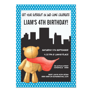 "Teddy Bear Super Hero Boys Birthday Party Invite 4.5"" X 6.25"" Invitation Card"