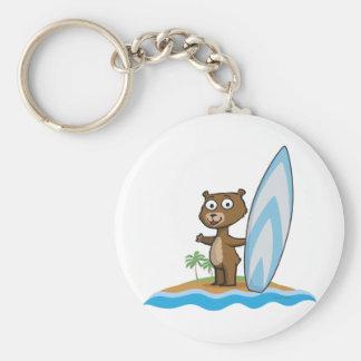Teddy Bear Surfer Basic Round Button Key Ring