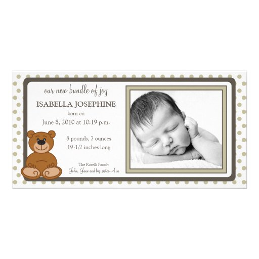 Teddy Bear Taupe Customized Birth Announcement Photo Greeting Card