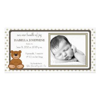 Teddy Bear Taupe Customized Birth Announcement Photo Card Template