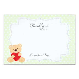 Teddy Bear Thank You Card 9 Cm X 13 Cm Invitation Card