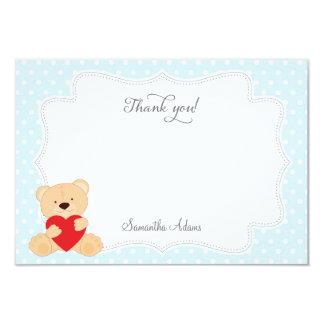 Teddy Bear Thank You Card (Blue) 9 Cm X 13 Cm Invitation Card