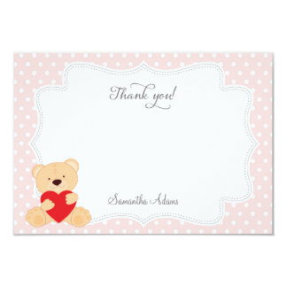 Teddy Bear Thank You Card (Pink) 9 Cm X 13 Cm Invitation Card