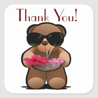 Teddy Bear Thank You Label Square Sticker