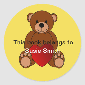 "Teddy Bear ""This book belongs to"" bookplate Classic Round Sticker"