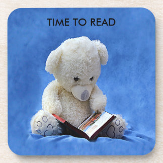 Teddy Bear Time to Read Cork Coaster