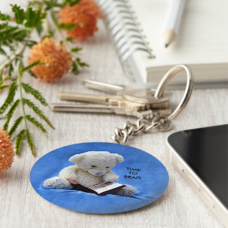 Teddy Bear Time to Read Round Button Keychain