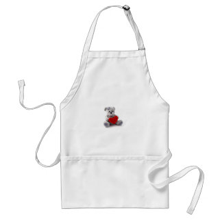 Teddy Bear Toy Holding A Heart On White Background Standard Apron