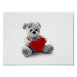 Teddy Bear Toy Holding A Heart On White Background Poster