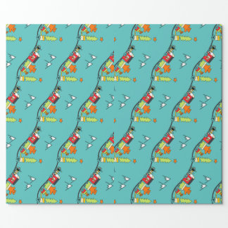 Teddy Bear train Christmas wrapping paper