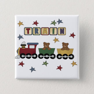 Teddy Bear Train Tshirts and Gifts 15 Cm Square Badge
