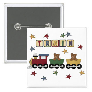 Teddy Bear Train Tshirts and Gifts Pinback Buttons