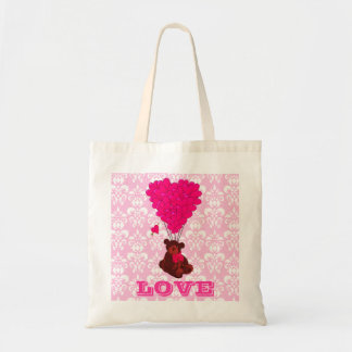 Teddy bear valentines love tote bag