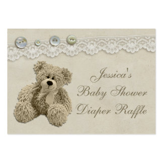 Teddy Bear Vintage Lace Diaper Raffle Pack Of Chubby Business Cards