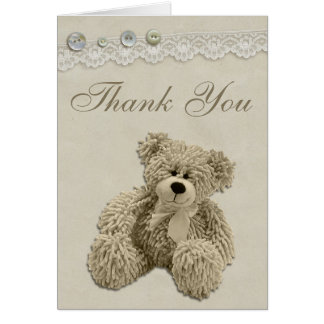 Teddy Bear Vintage Lace Thank You Note Card
