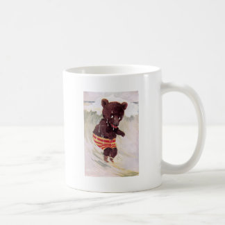 Teddy Bear Wades in the Surf Basic White Mug