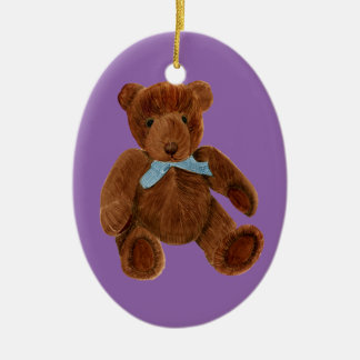 Teddy Bear Watercolor Painting Ceramic Oval Decoration