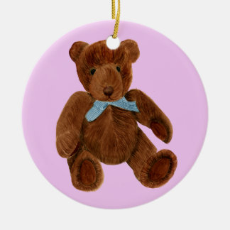 Teddy Bear Watercolor Painting Round Ceramic Decoration