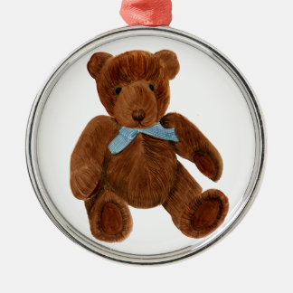 Teddy Bear Watercolor Painting Silver-Colored Round Decoration