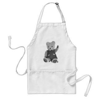 Teddy Bear Waving, Black & White, Full Standard Apron