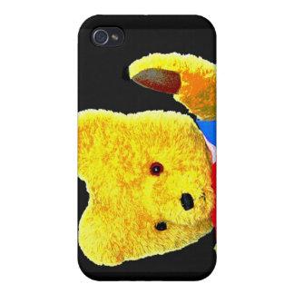 Teddy Bear Waving, Head / Shoulders, Black Back(1) iPhone 4/4S Case