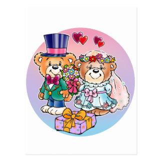 Teddy Bear Wedding Couple Postcards