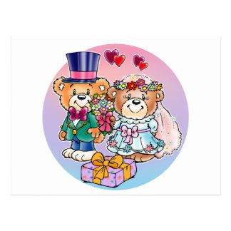 Teddy Bear Wedding Couple Postcard