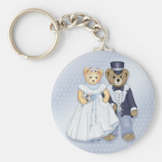 Teddy Bear Wedding - Customize Basic Round Button Key Ring