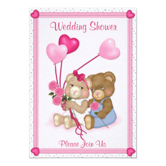 Teddy Bear Wedding Shower - Customize 13 Cm X 18 Cm Invitation Card