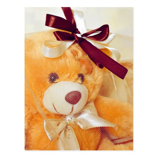 Teddy bear with a veil and bow postcard