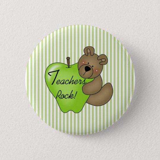 Teddy Bear with Apple Teachers Rock 6 Cm Round Badge