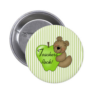 Teddy Bear with Apple Teachers Rock 6 Cm Round Badge