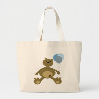 teddy bear with balloons tote bags