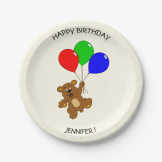 Teddy bear with balloons cartoon kids birthday 7 inch paper plate