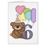 Teddy Bear with Balloons Kids Sixth Birthday Card