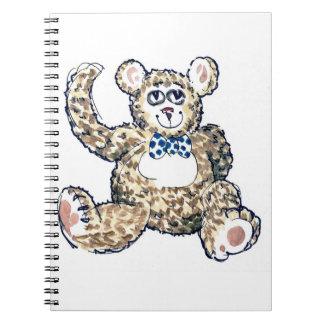 Teddy Bear with blue spotty bow tie Notebook