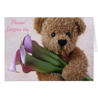 teddy bear with calla lilies forgive me card
