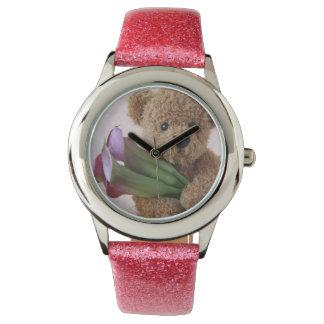 teddy bear with calla lilies girl's watch