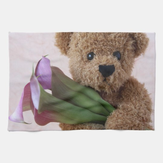 teddy bear with calla lilies kitchen towel