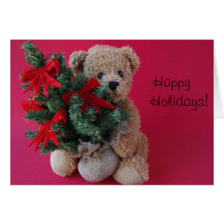 teddy bear with Christmas tree greeting card