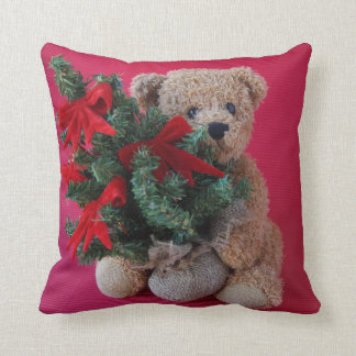 Teddy bear with Christmas tree Throw Pillow