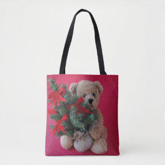 Teddy bear with Christmas tree Tote Bag