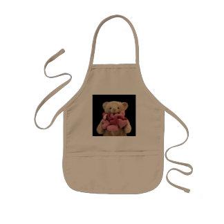 teddy bear with fabric hearts kids apron