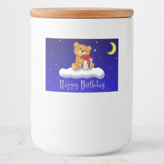 Teddy Bear with Gift Birthday Food Container Label