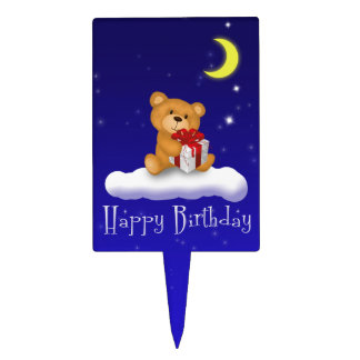 Teddy Bear with Gift - Happy Birthday Cakepick Cake Toppers