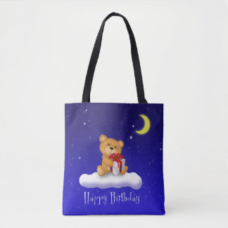 Teddy Bear with Gift - Happy Birthday Tote Bag