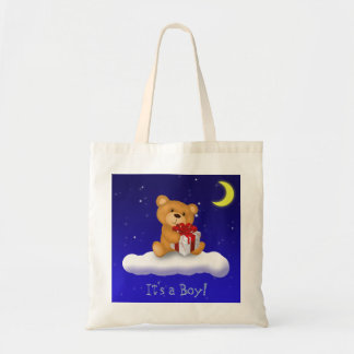 Teddy Bear with gift - It's a Boy Budget Tote